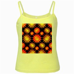Stars Patterns Christmas Background Seamless Yellow Spaghetti Tank