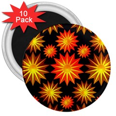 Stars Patterns Christmas Background Seamless 3  Magnets (10 pack)