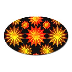 Stars Patterns Christmas Background Seamless Oval Magnet