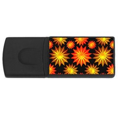Stars Patterns Christmas Background Seamless Usb Flash Drive Rectangular (4 Gb)