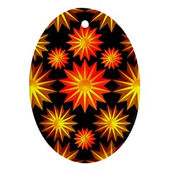 Stars Patterns Christmas Background Seamless Oval Ornament (Two Sides)