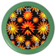 Stars Patterns Christmas Background Seamless Color Wall Clocks