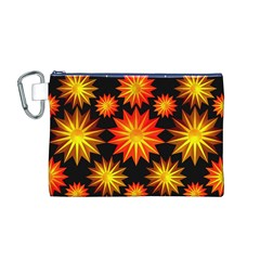 Stars Patterns Christmas Background Seamless Canvas Cosmetic Bag (m)