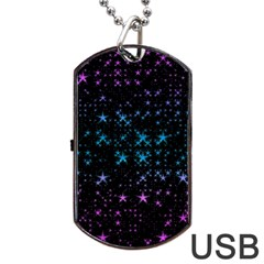 Stars Pattern Dog Tag USB Flash (One Side)