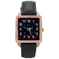 Stars Pattern Rose Gold Leather Watch