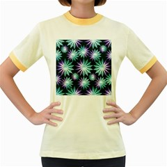 Stars Pattern Christmas Background Seamless Women s Fitted Ringer T Shirts
