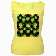 Stars Pattern Christmas Background Seamless Women s Yellow Tank Top