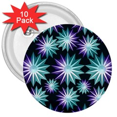 Stars Pattern Christmas Background Seamless 3  Buttons (10 pack)