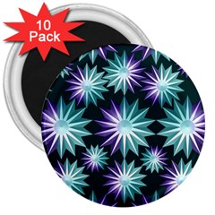 Stars Pattern Christmas Background Seamless 3  Magnets (10 Pack)