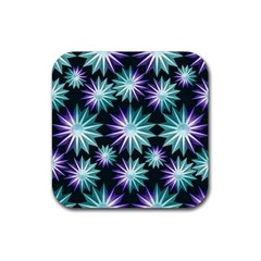Stars Pattern Christmas Background Seamless Rubber Square Coaster (4 pack)
