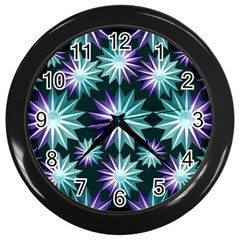 Stars Pattern Christmas Background Seamless Wall Clocks (Black)