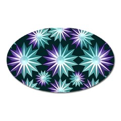 Stars Pattern Christmas Background Seamless Oval Magnet
