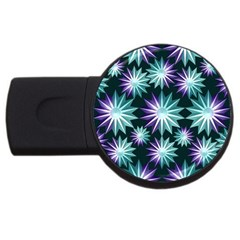 Stars Pattern Christmas Background Seamless USB Flash Drive Round (1 GB)