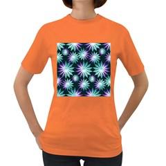 Stars Pattern Christmas Background Seamless Women s Dark T-Shirt