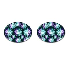 Stars Pattern Christmas Background Seamless Cufflinks (Oval)