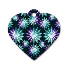 Stars Pattern Christmas Background Seamless Dog Tag Heart (One Side)