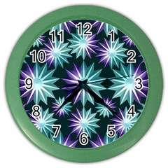 Stars Pattern Christmas Background Seamless Color Wall Clocks