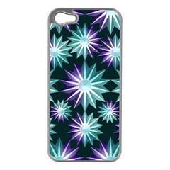 Stars Pattern Christmas Background Seamless Apple iPhone 5 Case (Silver)