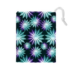 Stars Pattern Christmas Background Seamless Drawstring Pouches (large)