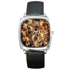 Star Golden Christmas Connection Square Metal Watch