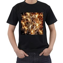 Star Golden Christmas Connection Men s T Shirt (black) (two Sided)