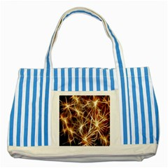 Star Golden Christmas Connection Striped Blue Tote Bag