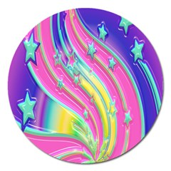 Star Christmas Pattern Texture Magnet 5  (Round)