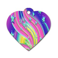 Star Christmas Pattern Texture Dog Tag Heart (one Side)