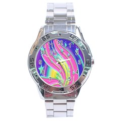 Star Christmas Pattern Texture Stainless Steel Analogue Watch