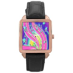 Star Christmas Pattern Texture Rose Gold Leather Watch
