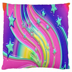 Star Christmas Pattern Texture Large Flano Cushion Case (One Side)
