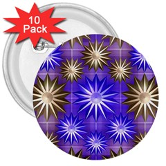 Stars Patterns Christmas Background Seamless 3  Buttons (10 pack)
