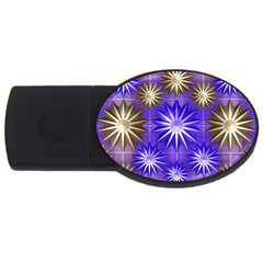Stars Patterns Christmas Background Seamless Usb Flash Drive Oval (4 Gb)