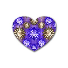 Stars Patterns Christmas Background Seamless Heart Coaster (4 pack)