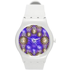 Stars Patterns Christmas Background Seamless Round Plastic Sport Watch (m)