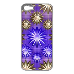 Stars Patterns Christmas Background Seamless Apple Iphone 5 Case (silver)