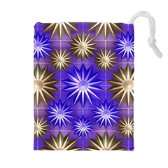 Stars Patterns Christmas Background Seamless Drawstring Pouches (extra Large)