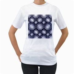 Stars Patterns Christmas Background Seamless Women s T-Shirt (White) (Two Sided)