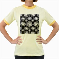Stars Patterns Christmas Background Seamless Women s Fitted Ringer T-Shirts