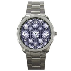 Stars Patterns Christmas Background Seamless Sport Metal Watch