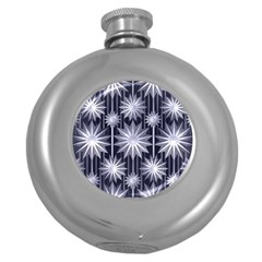 Stars Patterns Christmas Background Seamless Round Hip Flask (5 oz)