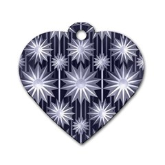 Stars Patterns Christmas Background Seamless Dog Tag Heart (one Side)