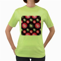 Stars Patterns Christmas Background Seamless Women s Green T-Shirt
