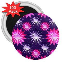 Stars Patterns Christmas Background Seamless 3  Magnets (100 Pack)