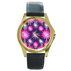 Stars Patterns Christmas Background Seamless Round Gold Metal Watch