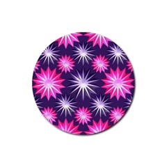 Stars Patterns Christmas Background Seamless Rubber Coaster (Round)