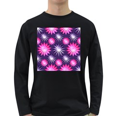 Stars Patterns Christmas Background Seamless Long Sleeve Dark T Shirts