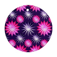 Stars Patterns Christmas Background Seamless Round Ornament (two Sides)