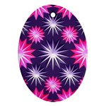 Stars Patterns Christmas Background Seamless Oval Ornament (Two Sides) Front