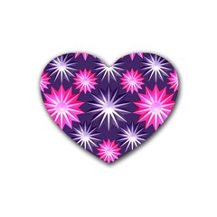 Stars Patterns Christmas Background Seamless Rubber Coaster (Heart)